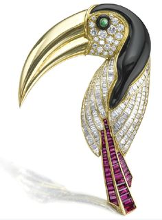 Diamond, ruby, enamel, and emerald toucan brooch by Tiffany Co.
