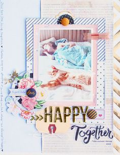 So very pretty & girly, I just love how soft the papers look together and all that stitches detailing #papercraft #scrapbook #layout