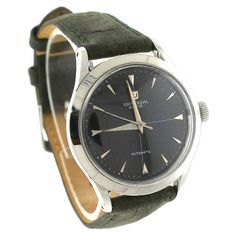Universal Geneve Universal Geneve Automatic Stainless Green Leather Black Vintage Mens Watch 1953  | TrueFacet