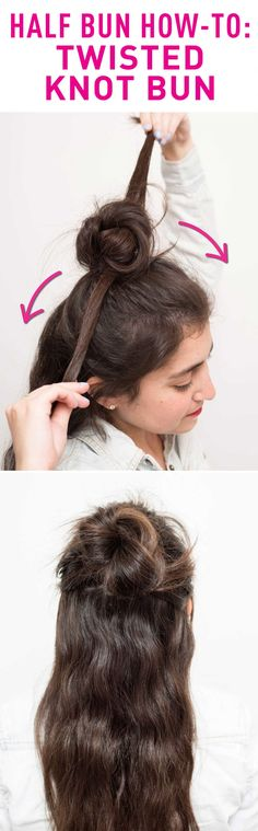 TWISTED KNOT HALF BUN HOW-TO: This messy style is sexy and perfectly undone, plus, it gives your half bun a more voluminous look! Create the style by pulling some hair up into a high ponytail. Split the ponytail in half and loosely twist the ends. Then wrap them in opposite directions around the ponytail base and secure the ends down with bobby pins. Click through for the full directions and more trendy half bun style ideas!