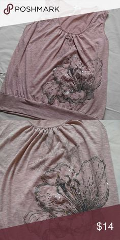 Lily screen tank Pink with hints of grey banded bottom tank with silver and black lilies of various sizes and subtlety. A really pretty tank. Gathering at scoop neck. Tag is faded that says size but I'm thinking it is a 18 or XXL Lavish Paris Tops Tank Tops