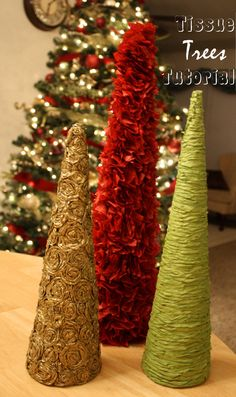 DIY Tissue Christmas Trees: Well the blog doesn't lie. This is NOT a quick project. And I kind of wanted to spoon my eyes out my the second one. Although it was super easy, extremely time consuming. But the end result was FANTASTIC.