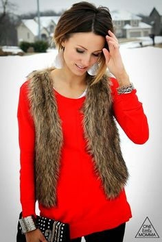 Red sweater, fake faux fur vest
