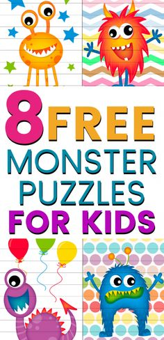8 Free Printable Puzzles For Kids: Funny Monsters Jigsaw