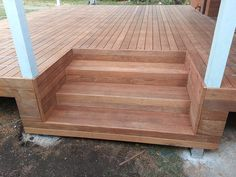 New Timber Deck Stairs Design 60 Ideas Decks Around Pools, Landscaping Around Deck, Timber Stair, Timber Deck, Deck Steps, Porch Steps, Front Stairs, Building Stairs, Stair Makeover