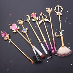 Sailor Moon Crystal Jewelry Makeup Cosmetic Brush Set - Tap Tutorial and Ideas Cosmetic Brush Set, Makeup Brush Set, Makeup Kit, Makeup Tools, Makeup Eyeshadow, Eyeliner, Men Makeup, Makeup Sale, Makeup Tutorials