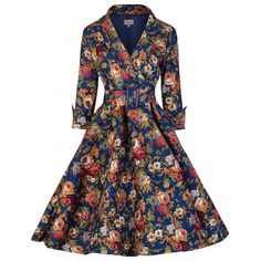 'Vivi' Dark Blue Floral Swing Dress