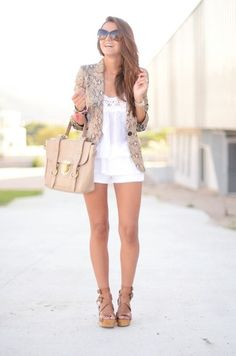 this outfit will be replicated: blazer, white ruffle top, white shorts, brown wedges, and a nice purse.