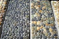 River rock in cement.