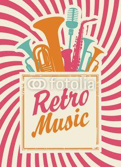 Vecteur : banner with the inscription retro music,