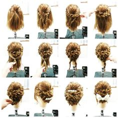 Braided updo for short hair (Prom Hair Medium) Braided Updo For Short Hair, Prom Hair Updo, Hair Arrange, Fancy Hairstyles, Short Hair Hairdos, Teenage Hairstyles, Love Hair, Bridesmaid Hair, Hair Looks