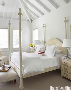 A restful, cream-colored master bedroom.