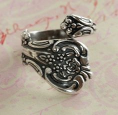 Floral Silver Spoon Ring Finding 2189 by charmparfait on Etsy https://www.etsy.com/listing/97400471/floral-silver-spoon-ring-finding-2189