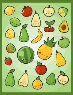 Buy Kawaii Pack Fruits by pzUH on GraphicRiver. A collection of cute fruits illustration ======================= Main File Format: - Corel Draw . Each object . 365 Kawaii, Kawaii Cute, Fruits Drawing, Food Drawing, Kawaii Doodles, Cute Doodles, Fruit Illustration, Food Illustrations, Kawaii Drawings