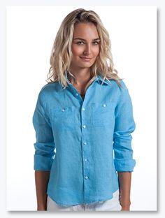 Coral Linen Shirt for Women - Women's Linen Shirts | Island ...