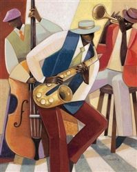 In the Groove I by Norman Wyatt depicts a Jazz trio African American Culture, Poster Prints, Art Prints, Tropical Art, Cool Posters, African Art, Figurative Art, Character Design, Painting