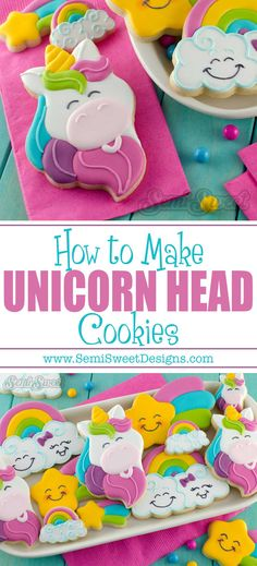 Full tutorial on how to make unicorn cookies by SemiSweetDesigns.com | Template and recipe for decorating sugar cookies with royal icing.