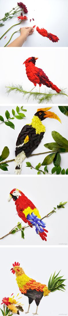 Birds Made of Flower Petals and Leaves by Red Hong Yi