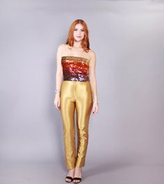 vintage 1970s iconic shiny spandex disco pants. fab wet look ultra shiny curve…