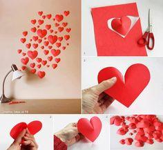 DIY hearts diy diy crafts do it yourself diy art diy hearts diy tips diy ideas easy diy crafts by BGM Inspiration Diy Wanddekorationen, Easy Diy Crafts, Fun Crafts, Crafts For Kids, Arts And Crafts, Valentines Bricolage, Valentines Diy, Valentine Hearts, Diy Paper