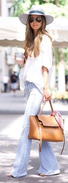 #street #style #spring #fashion #inspiration | White Loose Shirt + Flares | Something Navy Source