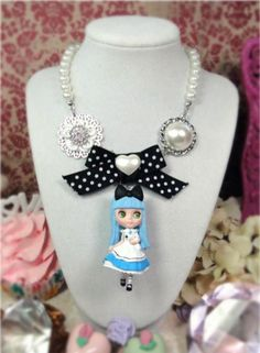 Blythe Alice in WOnderland blue doll Necklace girl shabby chic black bow pearl filigree white bunny rabbit vintage style