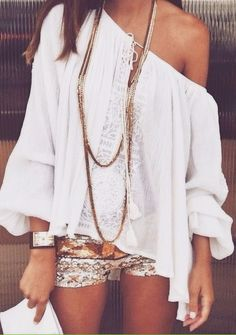 Sequined shorts + boho blouse