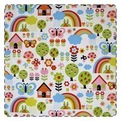 Rainbows canvas fabric by Kokka