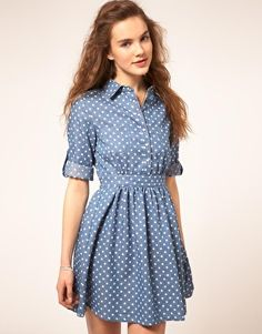 Denim Spot Dress I just adore casual dresses like this one. Chambray Dress, Jeans Dress, Dress Skirt, Dress Up, Casual Dresses, Short Dresses, Fashion Dresses, Girl Fashion, Fashion Looks