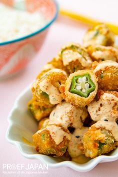 Recept: Gefrituurde okra | Proef Japan Asian Recipes, Ethnic Recipes, Vegan Dishes, Vegan Vegetarian, Cauliflower, Sushi, Foodies, Food Japan, Meat