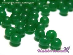 50x Round Glass Beads 6 mm  Jade by KolibriBeadSupplies on Etsy