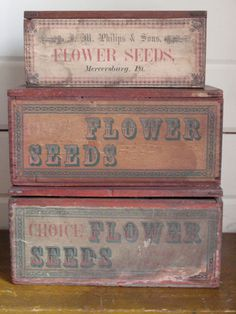 Nor can you ever too many seeds..........   Late 19th C Philips' Seeds Boxes www.TheCatLadyAntiques.com