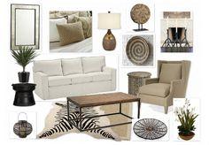 Neutral living room decor - safari, African chic.