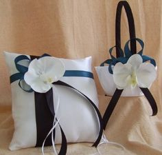 White Black and Teal Wedding Colors Flower Girl Basket by... review | buy, shop with friends, sale | Kaboodle