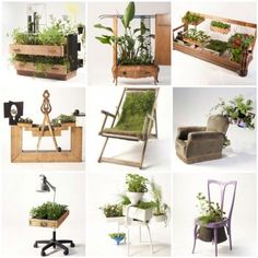 Furnitures recycled into beautiful planters by Peter Bottazzi
