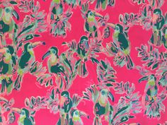 Lilly Pulitzer Toucan Can fabric piece. Dobby Fabric, Lilly Pulitzer Fabric, Free Studio, Image Shows, Vibrant Colors, Craft Supplies, Texture, Canning, Cotton