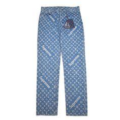 NWT Louis Vuitton Supreme Blue Box Logo LV Monogram Denim Jeans 32 Reg AUTHENTIC | eBay