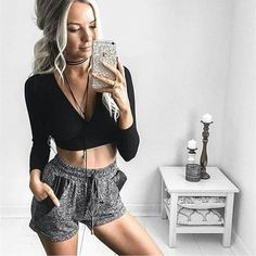 Bowknot Deep V-neck Bandage Long Sleeves Slim Skinny Crop Top