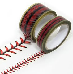 $17.90 via etsy. Are you kidding me???? Baseball stitches design tape set. This would be cool for the baseball wall I saw for the boys. No need to paint the stripes.