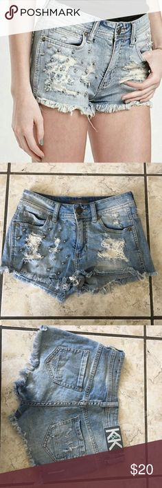 Kendall + Kylie Studded Shorts K+ K studded and distressed shorts! Excellent condition. A light blue shade, right side has studs left side is distressed. Size 0 or good for an XS. Quite short. NO TRADES Kendall & Kylie Shorts Jean Shorts