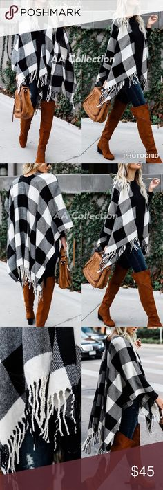 Buffalo Check plaid Tassel shawl Poncho black Black ivory Buffalo Check plaid Tassel shawl  wrap cover up Poncho.  *No Armholes. 100% Acrylic. Dimension 46x55 Accessories Scarves & Wraps