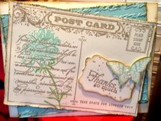 Got Glue - Will Craft: Vintage post card / Post Card stamp set, Butterfly punch, Field Flowers stamp set, Stampin'Up!