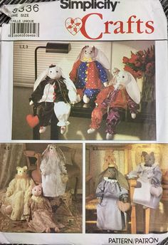 Stuffed Bunnies, Cats, and Clothes Sewing Pattern Simplicity 9336 by GoofingOffSewing on Etsy