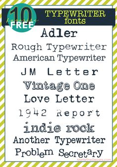 awesome variety of  Typewriter Fonts, FREE to download | www.MoritzFineBlogDesigns.com