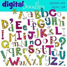 KPM Alphabet soup digital clip art