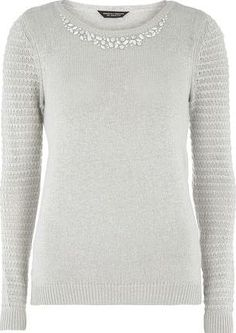 Dorothy Perkins Womens Grey Embellished Neck Jumper- Grey Knitted Jumper with subtle textured sleeve and embellished neckline in grey. Full length is 60cm 44% Viscose,33% Nylon,19% Cotton,4% Wool. Machine washable. http://www.comparestoreprices.co.uk/january-2017-9/dorothy-perkins-womens-grey-embellished-neck-jumper-grey.asp