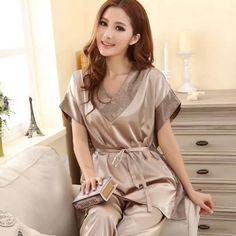 d38f98a5269 Summer 2014 Women Sexy Silk Pajamas Fashion Solid Color Sleep set V-neck  Short-sleeves Silk Plus Size Lounge Female Sleep Tops