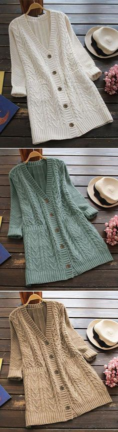 Only $39.99 Free shipping! That's it. Go wherever the wind takes you in the Full Exposure Twist Long Sweater Cardigan. Keep it simple this season with its twist pattern and lovely pockets at sides. Show off now!