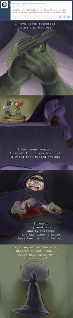 """Ask Mysterion """"…Of course not, citizen. I will always be here, to protect this world which so blatantly wants me in it"""" Imagens and phrase by http://the-wrong-fucking-cowboy.tumblr.com/"""