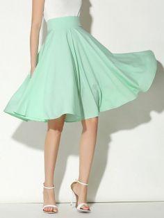 Shop Light Green High Waist Midi Skater Skirt from choies.com .Free shipping Worldwide.$16.9